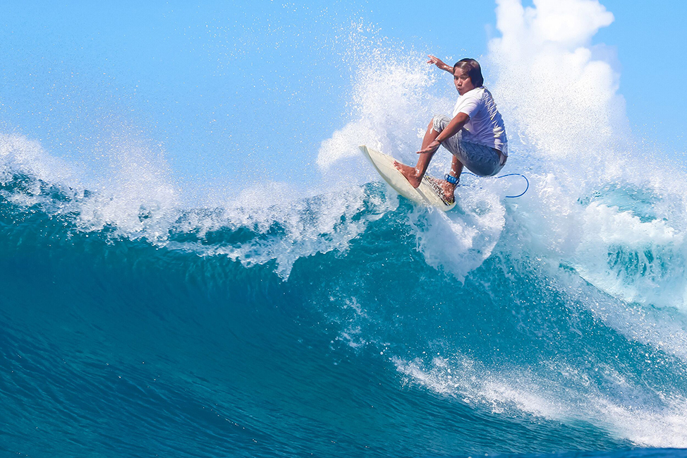 Image description: Bali surfing