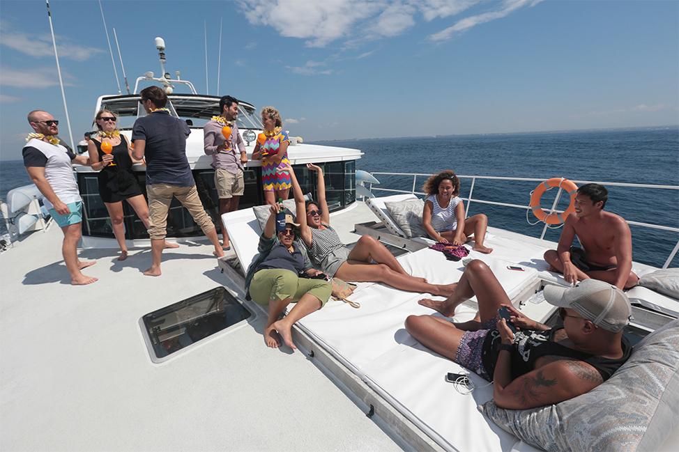 Image description: Enjoying sun on boat