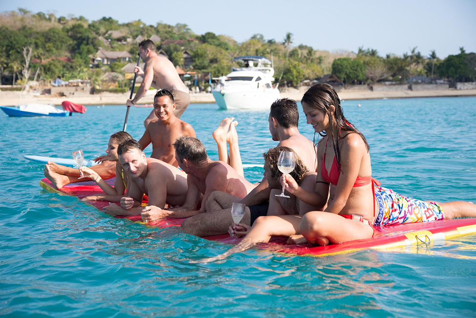 Image description: Floating on raft
