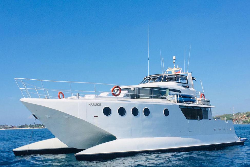 Image description: Catamaran deck